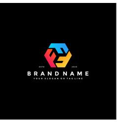 Colorful hexagon letter f logo design vector