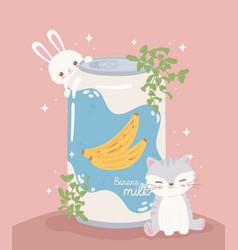 Cute animals and soda vector