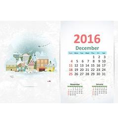 Cute sweet town calendar for 2016 December vector image
