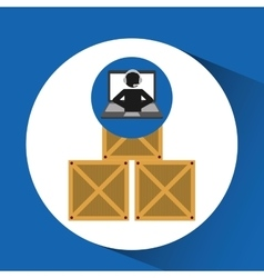 delivery call centre operator online boxes vector image