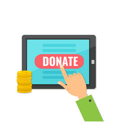 donate money with computer tablet vector image
