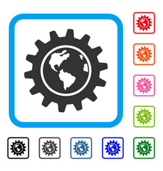 Earth engineering framed icon vector