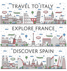 european traveling posters in linear style vector image vector image