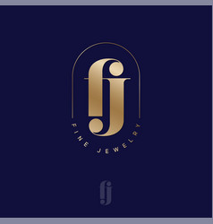 F j monogram fine jewelry rounded frame vector