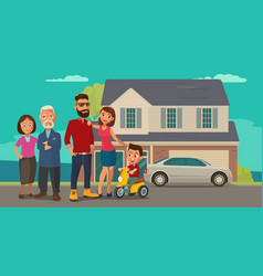 Family parents grandparents and child on a vector