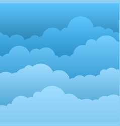 flat clouds blue sky with paper cartoon clouds vector image