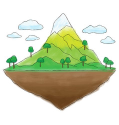 Floating island mountain doodle vector