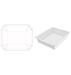 Foldable food container tray die cut template vector