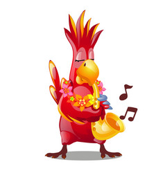 Funny red parrot playing a wind musical instrument vector