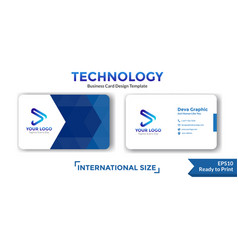Geometric blue business card design template vector
