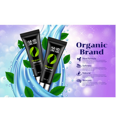 hand cream black tube blue drop leaves background vector image