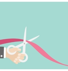 Hand scissors cut the ribbon left opening vector