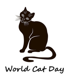 happy cat day world cat day vector image