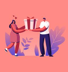 happy loving man prepare gift to woman boyfriend vector image