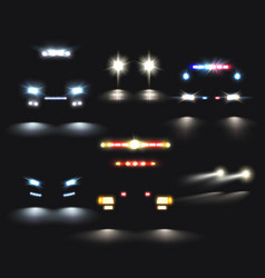headlamp cars realistic set vector image