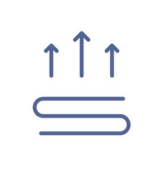 heating icon with three straight arrows over vector image