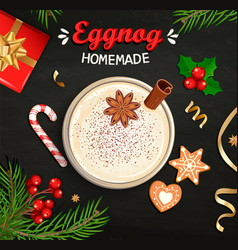 Hot christmas eggnog homemade mulled wine grog vector