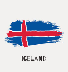 Iceland watercolor national country flag icon vector