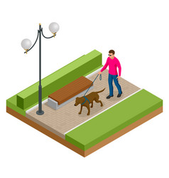isometric man with a dog on a leash man and dog vector image