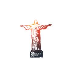 jesus statue monument religion christ concept vector image