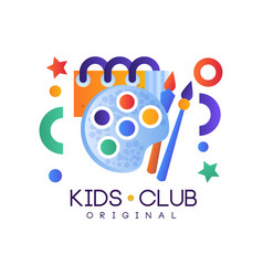 Kids club logo colorful creative label template vector