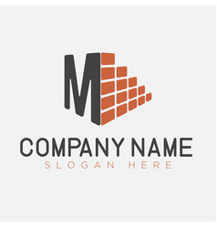 letter m and brick construction logo template vector image