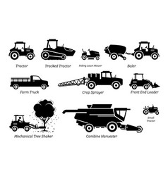 list agriculture farming vehicles tractors vector image
