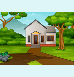 Little house in beautiful landscape with green yar vector
