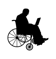 Man or woman in wheelchair silhouette vector