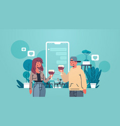 man woman drinking wine couple using mobile vector image