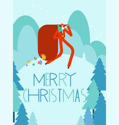 merry christmas greeting card santa claus and vector image