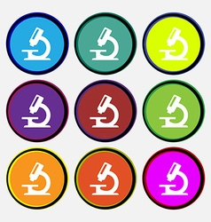 Microscope icon sign Nine multi-colored round vector