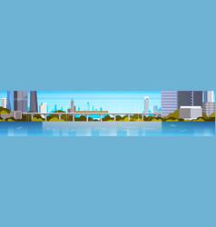modern city panorama with high skyscrapers and vector image