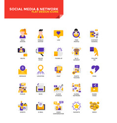Modern material flat design icons - social media vector