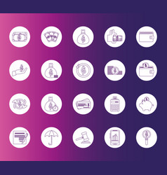 Money business financial trade commerce icons set vector
