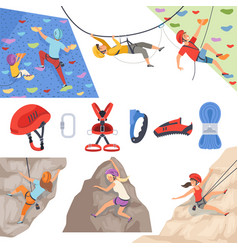 mountain climbers mountaineering equipment for vector image