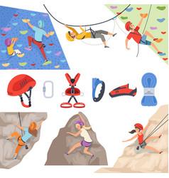 Mountain climbers mountaineering equipment vector