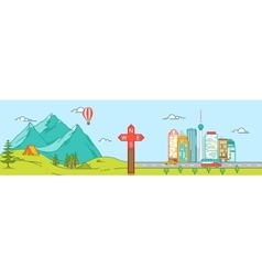 Mountains and City Travel concept vector
