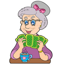 Old lady playing poker vector