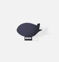Paper clipped sticker aircraft airship vector