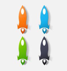 Paper clipped sticker aircraft rocket vector