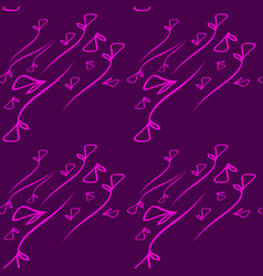 pattern from plant pink elements on a lilac vector image