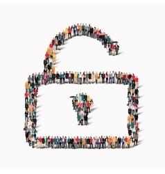people shape lock group vector image