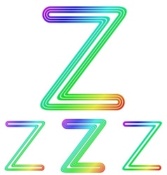 Rainbow line z logo design set vector image
