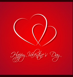red simple happy valentines day card vector image