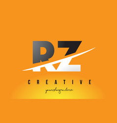 Rz r z letter modern logo design with yellow vector