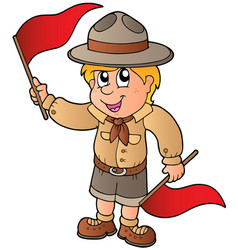 Scout boy giving flag signal vector