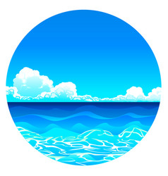 Sea background in circle vector