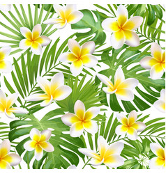 Seamless exotic pattern with tropical leaves and vector