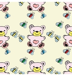 Seamless pattern cute bear and butterfly vector